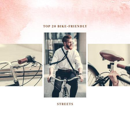 Man Riding bike in city Instagramデザインテンプレート