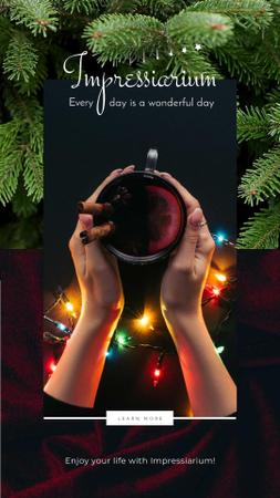 Hand holding cup with Mulled Wine Instagram Video Story Modelo de Design