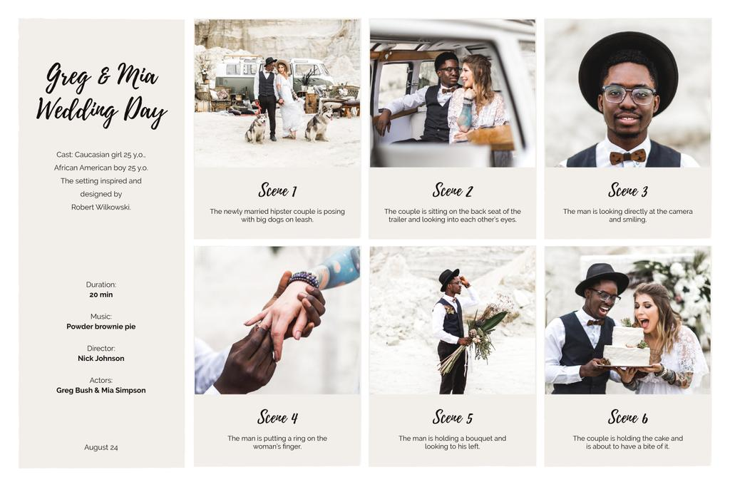 Happy Newlyweds on Retro Wedding Storyboard Design Template