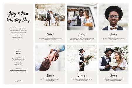 Happy Newlyweds on Retro Wedding Storyboard Tasarım Şablonu