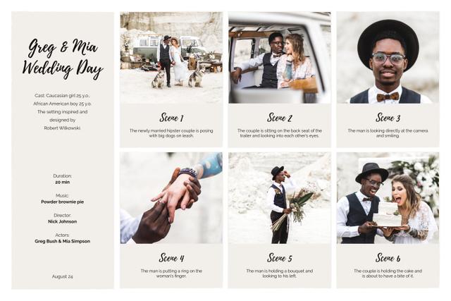 Modèle de visuel Happy Newlyweds on Retro Wedding - Storyboard