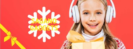Plantilla de diseño de Christmas Offer Girl in Headphones with Gift Facebook cover