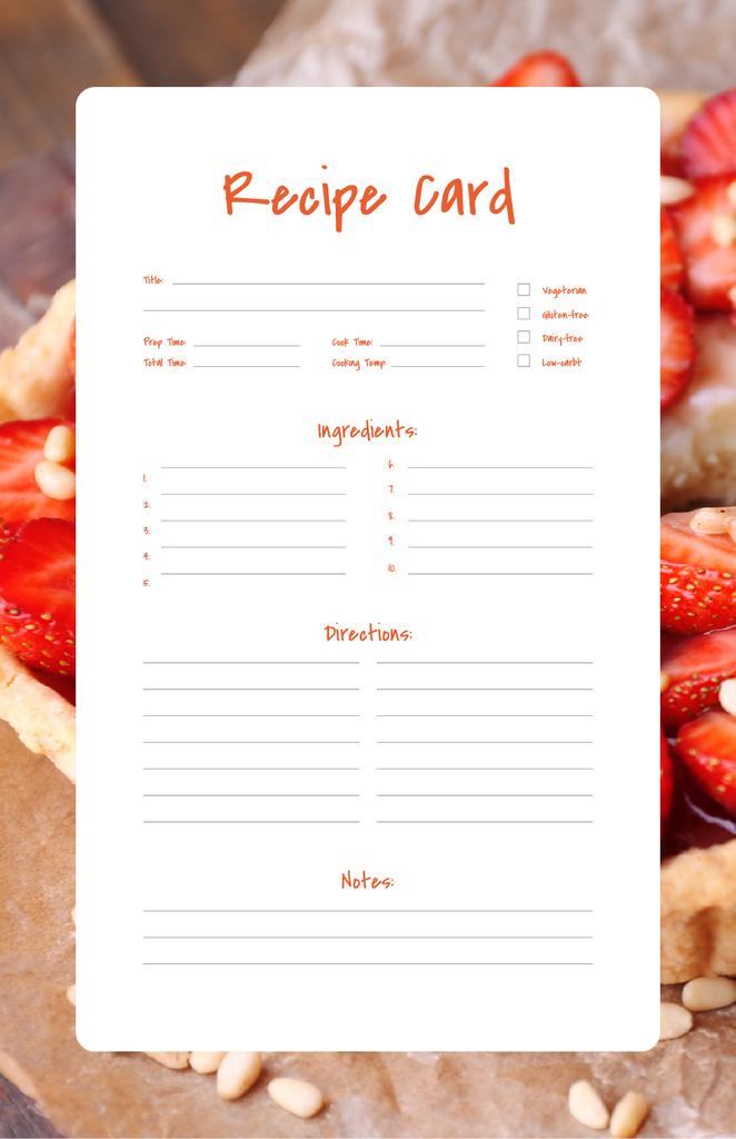 Plantilla de diseño de Sweet Strawberry Pie Recipe Card