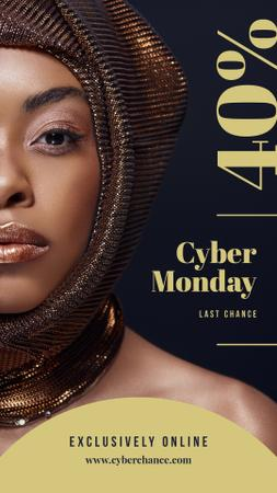 Modèle de visuel Cyber Monday Sale Young attractive woman - Instagram Story