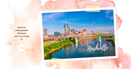 Nashville Invitation Postcard with City View Facebook AD Modelo de Design