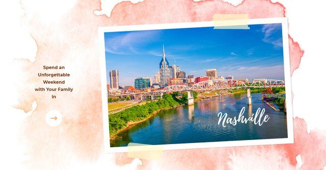 Modèle de visuel Nashville Invitation Postcard with City View - Facebook AD