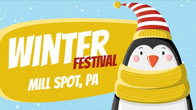 Winter Fest Cute Winter Penguin in Hat Full HD video Design Template