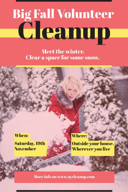 Ontwerpsjabloon van Pinterest van Winter Volunteer clean up