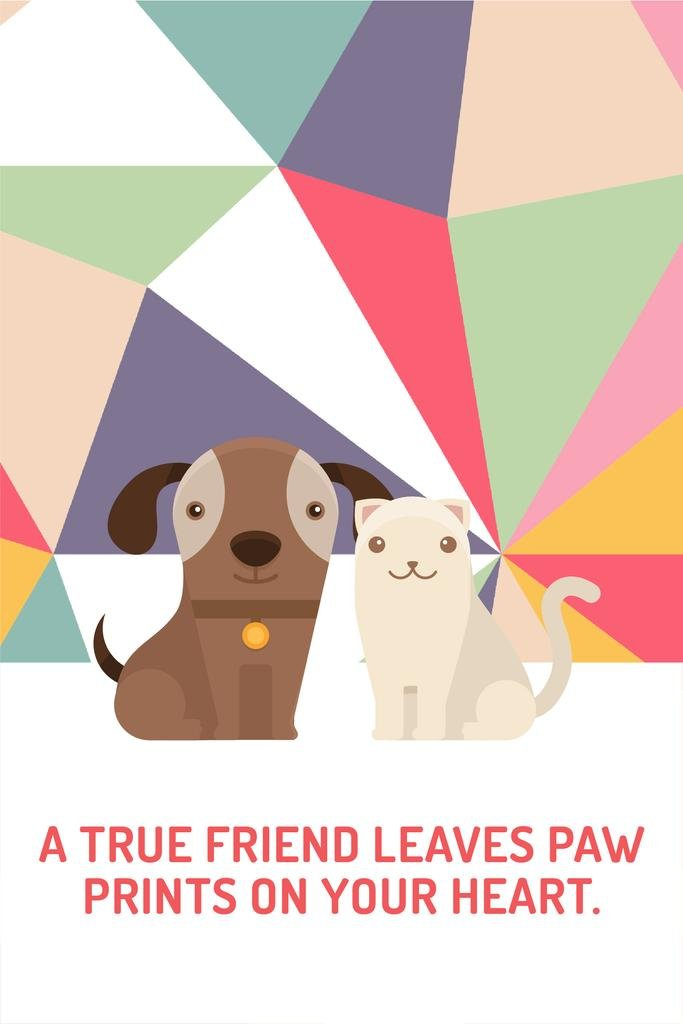 Pets Quote Cute Dog and Cat | Pinterest Template — Crea un design