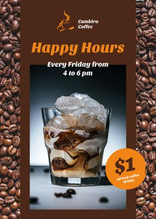 Coffee Shop Happy Hours Iced Latte in Glass Flayerデザインテンプレート