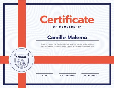 Education process Contribution gratitude in red Certificate Modelo de Design