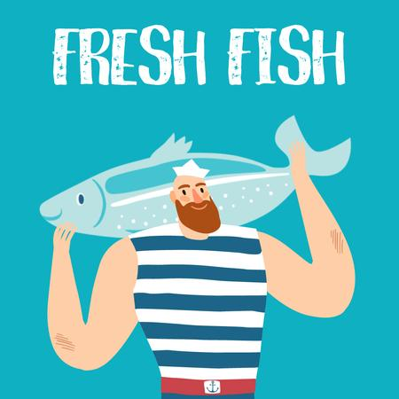 Template di design Fisherman with Big Fish in Blue Animated Post