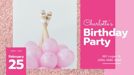 Birthday Party Invitation Girl with Pink Balloons FB event cover – шаблон для дизайну