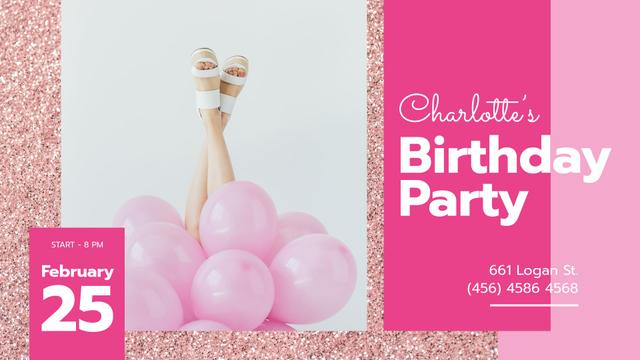 Ontwerpsjabloon van FB event cover van Birthday Party Invitation Girl with Pink Balloons
