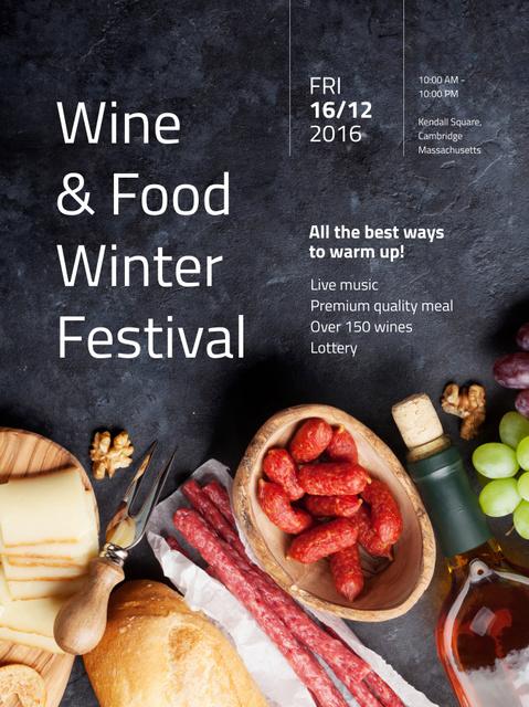 Food Festival invitation Wine and Snacks Poster US Design Template