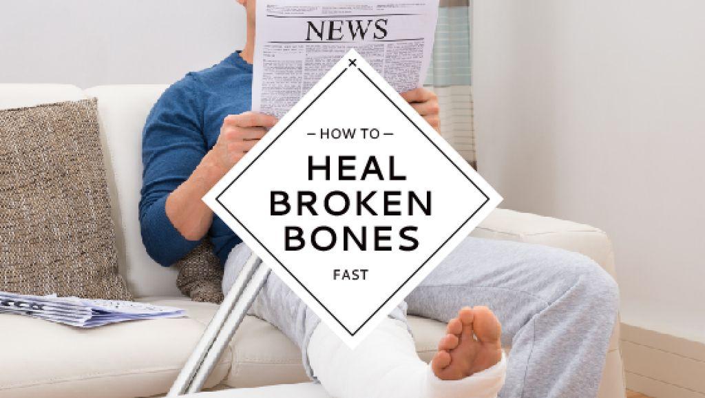 Man with Broken Leg reading Newspaper — Crear un diseño