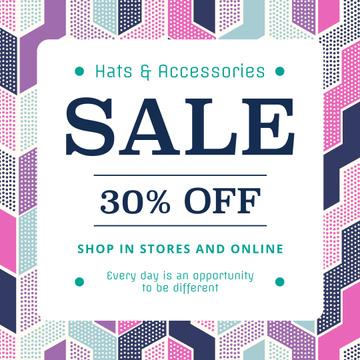 Fashion sale ad on geometric pattern