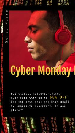 Plantilla de diseño de Cyber Monday Sale Man in Headphones Instagram Video Story