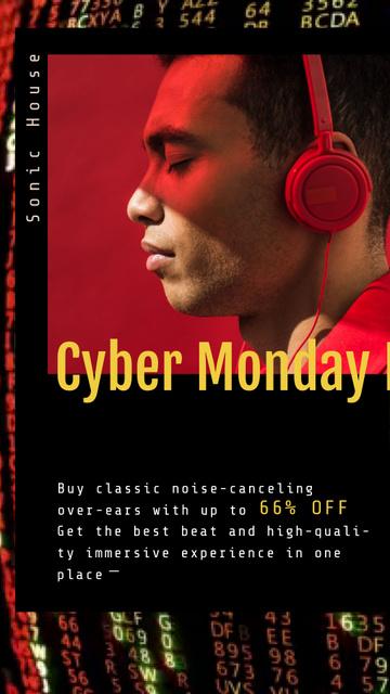 Template di design Cyber Monday Sale Man in Headphones Instagram Video Story