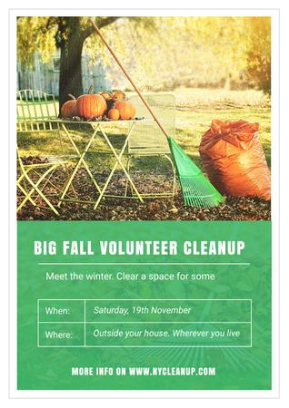 Plantilla de diseño de Big fall volunteer cleanup Poster