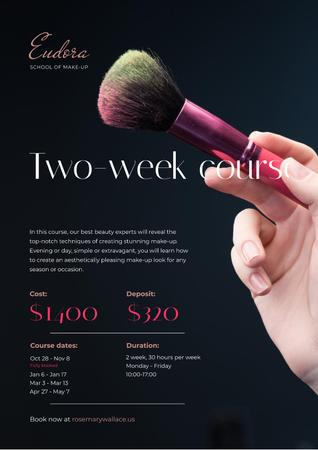 Makeup Courses Promotion with Hand with Brush Poster Modelo de Design