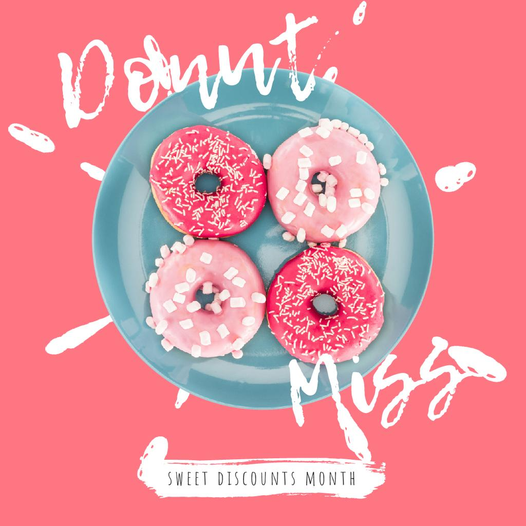 Bakery Offer with Delicious Pink Doughnuts — Create a Design