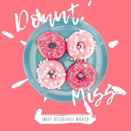 Bakery Offer with Delicious Pink Doughnuts Animated Post Modelo de Design