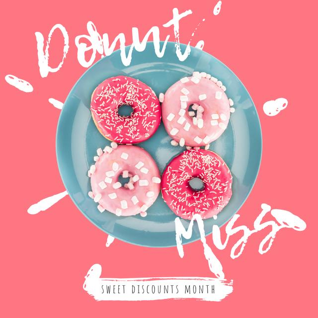 Designvorlage Bakery Offer with Delicious Pink Doughnuts für Animated Post