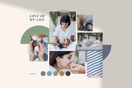 Ontwerpsjabloon van Mood Board van Summer inspiration with Couple on Picnic