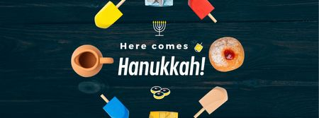Happy Hanukah attributes in circle Facebook Video cover Design Template