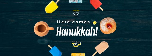 Happy Hanukah attributes in circle Facebook Video cover Modelo de Design