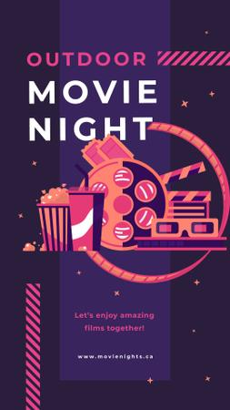 Movie night attributes Instagram Story – шаблон для дизайну