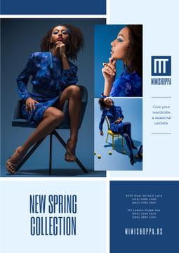 Fashion Collection Ad Stylish Woman in Blue
