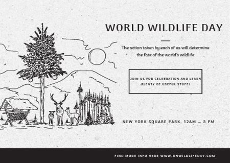 Template di design World wildlife day Announcement Postcard