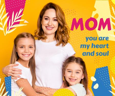 Plantilla de diseño de Happy Mom with daughters on Mother's Day Facebook
