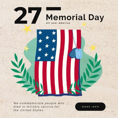 Plantilla de diseño de USA Memorial Day Waving Flag Animated Post