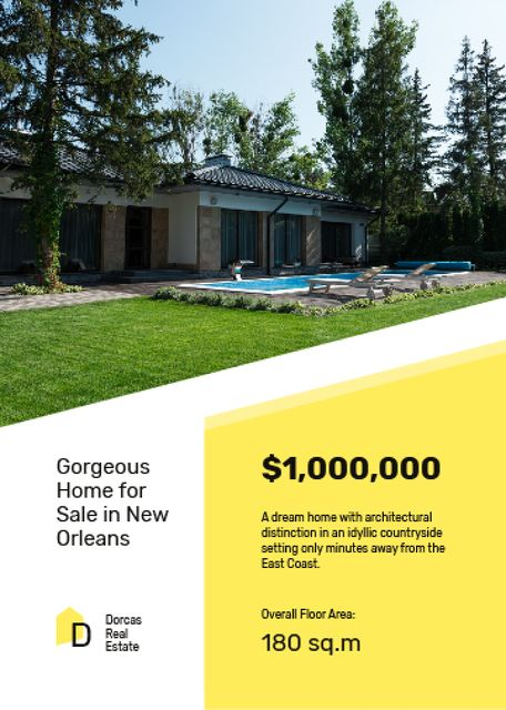 Real Estate Offer Residential Modern House with Pool Flayer Modelo de Design