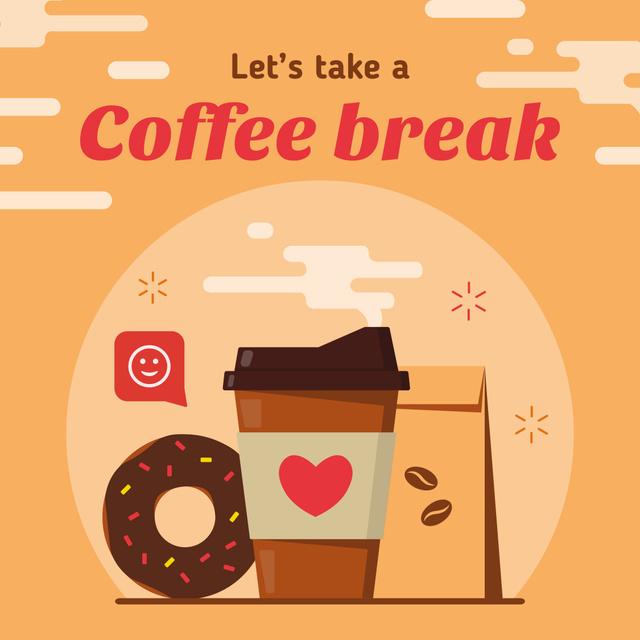 Designvorlage Coffee cup and doughnut für Instagram