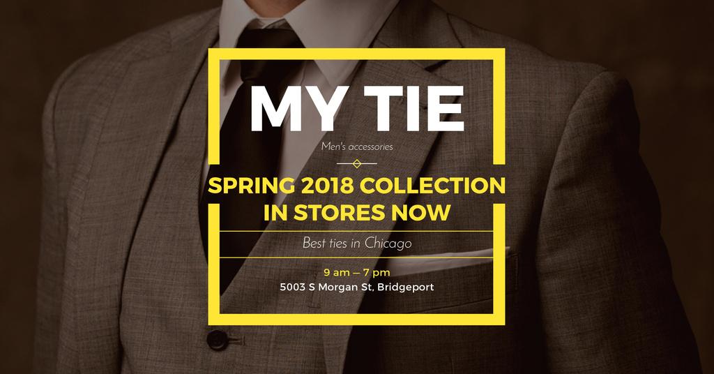 Plantilla de diseño de Tie store Ad with Man in Suit Facebook AD