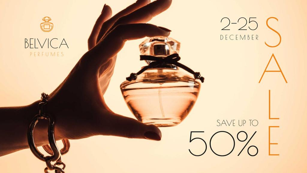Template di design Sale Offer with Woman Holding Perfume Bottle FB event cover