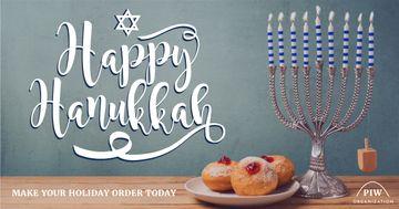 Happy Hanukkah greeting with Menora