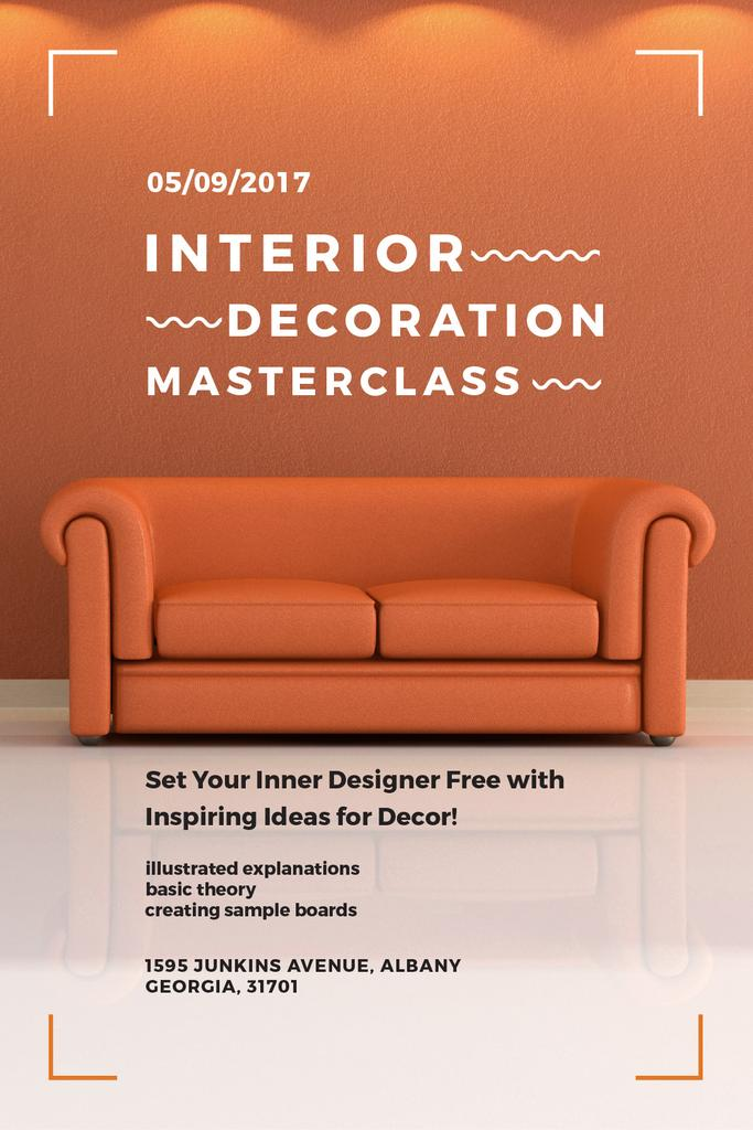 Interior Decoration Event Announcement Sofa in Red — Crear un diseño