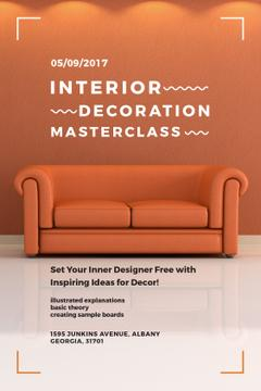 Interior Decoration Event Announcement Sofa in Red | Tumblr Graphics Template