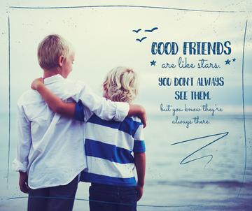 two children hugging on seashore with inspirational quote