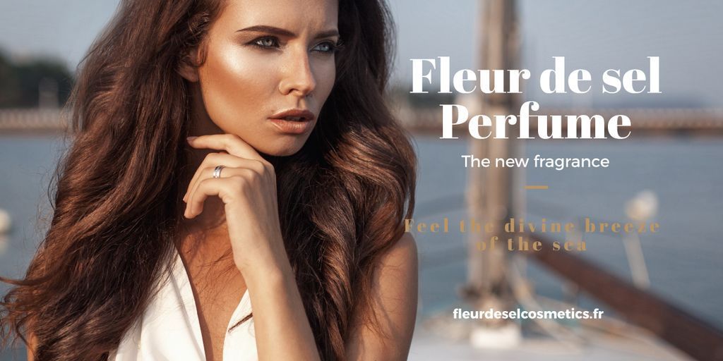 New perfume Ad with beautiful young woman Image Design Template