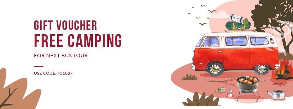 Ontwerpsjabloon van Coupon van Gift Voucher on Free Camping