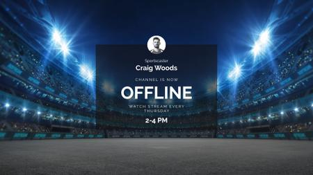 Sport Game Match announcement on Stadium Twitch Offline Banner – шаблон для дизайна