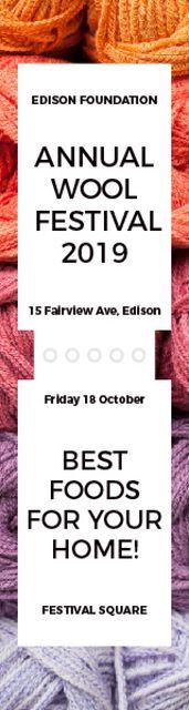 Knitting Festival Invitation Wool Yarn Skeins Skyscraper – шаблон для дизайну
