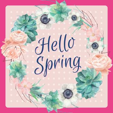 Spring flowers wreath in pink