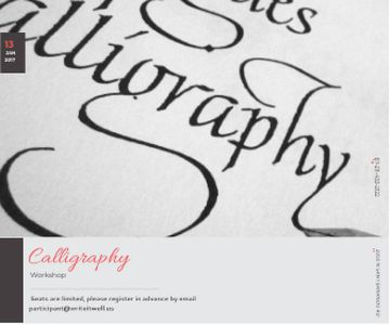 Calligraphy Workshop Announcement Letters on White